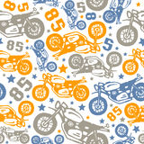 Seamless pattern with motorcycles drawings. Design for your textiles, backgrounds, wrapping paper. Color print on a white background Stock Photos