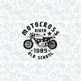 Seamless pattern with motorcycles drawings and print for t-shirt. Design for your textiles, backgrounds, wrapping paper. Black print on a light pattern Royalty Free Stock Image