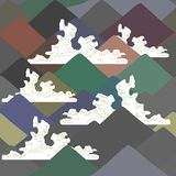 Seamless pattern Mount Fuji, Nature background with Japanese landscape. navy blue beige grey brown mountain White clouds. Vector. Illustration royalty free illustration