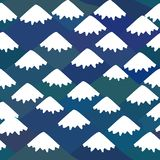 Seamless pattern Mount Fuji, Nature background with Japanese landscape. navy blue mountain with snow-capped peaks. Vector royalty free illustration
