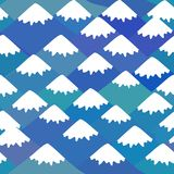 Seamless pattern Mount Fuji, Nature background with Japanese landscape. navy blue mountain with snow-capped peaks. Vector. Illustration stock illustration
