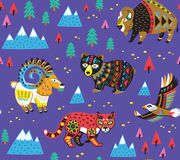 Seamless pattern with mountain animals. Seamless pattern of mountain animals with ethnic, tribal ornaments isolated on purple background. Vector illustration stock illustration