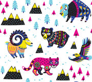 Seamless pattern with mountain animals. Seamless pattern of mountain animals with ethnic, tribal ornaments isolated on white background. Vector illustration stock illustration