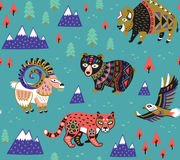 Seamless pattern with mountain animals. Seamless pattern of mountain animals with ethnic, tribal ornaments. Vector illustration. Funny cartoon character vector illustration