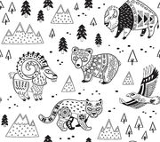 Seamless pattern with mountain animals in monochrome style. Outline seamless pattern of mountain animals with ethnic, tribal ornaments. Vector ornamental vector illustration