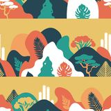 Seamless pattern. Mountain hilly landscape with tropical plants and trees, palms, succulents. Scandinavian style. vector illustration