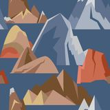 Seamless pattern with mountain icons in flat style Stock Photography