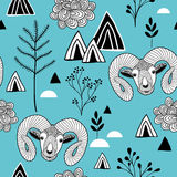 Seamless pattern with mountain life. Royalty Free Stock Photography