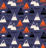 Seamless pattern with mountains, rocks in scandinavian style. Decorative background with landscape elements. royalty free illustration