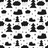 Seamless pattern of mountains, trees, clouds, rain, christmas tree. Vector scandinavian hand-drawn children illustration. For bann royalty free illustration