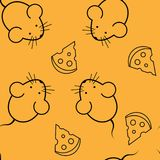Seamless pattern - mouse and cheese Stock Photography