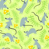 Seamless pattern with mouses. Background with cute rats in the g Stock Photos