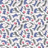 Seamless pattern with mouses. Background with cute rats in the g Royalty Free Stock Images