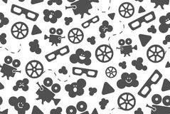 Seamless pattern of movie design elements. Seamless pattern of flat movie design elements and cinema icons in flat style. Vector illustration. Background Royalty Free Stock Images