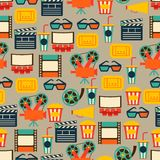 Seamless pattern of movie elements and cinema. Icons Stock Images