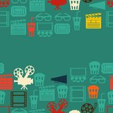 Seamless pattern of movie elements and cinema. Icons Stock Photo