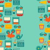Seamless pattern of movie elements and cinema Royalty Free Stock Photography