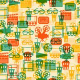 Seamless pattern of movie elements and cinema. Icons Royalty Free Stock Photo