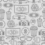 Seamless pattern of movie elements and cinema. Icons Royalty Free Stock Images
