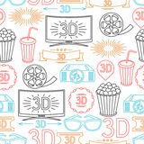 Seamless pattern of movie elements and cinema Royalty Free Stock Image