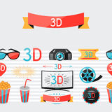 Seamless pattern of movie elements and cinema. Icons Royalty Free Stock Image