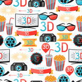 Seamless pattern of movie elements and cinema Stock Photography