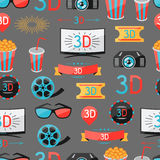 Seamless pattern of movie elements and cinema. Icons Royalty Free Stock Photography
