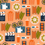 Seamless Pattern of Movie Elements and Cinema Icons. Cinema Vector Seamless Pattern in Flat Style Royalty Free Stock Photography