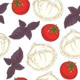 Seamless Pattern. Mozzarella, Tomatoes and Basil. Seamless Pattern with Buffalo Mozzarella, Tomatoes and Purple Basil on a White Background Stock Photography
