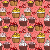 Seamless pattern with muffins and cherries Stock Photo