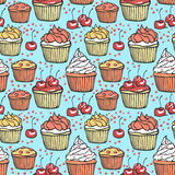 Seamless pattern with muffins and cherries Royalty Free Stock Images