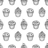 Seamless pattern with muffins and cupcakes. Hand drawn vector illustration Stock Photo
