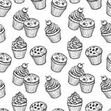 Seamless pattern with muffins and cupcakes. Hand drawn vector illustration Royalty Free Stock Images