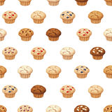 Seamless pattern with muffins. Vector illustration. Stock Photography
