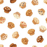 Seamless pattern with muffins. Vector illustration. Stock Photos