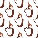 Seamless pattern of a mug of steaming hot coffee. Brown and white sketch in a seamless pattern of a mug of steaming hot coffee with swirling vapor on white Royalty Free Stock Photography