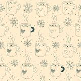 Seamless pattern mugs and snow stock illustration