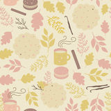 Seamless pattern with mugs of tea and cookies Royalty Free Stock Photography
