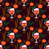 Seamless pattern with mulled wine Royalty Free Stock Image
