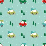 Pattern with cars and trees royalty free illustration