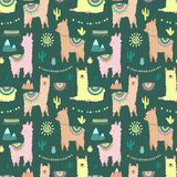 Seamless pattern with multi-colored llamas or alpacas, mountains, cacti, garland and sun on a dark background. Image for children, stock illustration