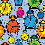 Seamless pattern multicolor alarm clock Royalty Free Stock Photography