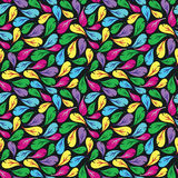 Seamless pattern with multicolor feathers on black background Royalty Free Stock Photography