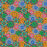Seamless pattern with multicolor geometric flowers Royalty Free Stock Images