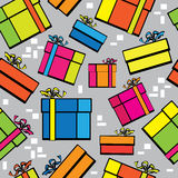 Seamless pattern multicolor gift box Royalty Free Stock Photo