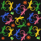 Seamless pattern with multicolor lizards. Vector illustration Stock Images