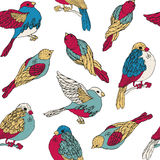 Seamless pattern with multicolored birds Stock Photography