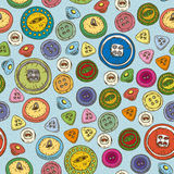 Seamless Pattern with Multicolored Buttons Royalty Free Stock Photography