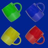 Seamless pattern of multicolored cups on a blue background. stock photos