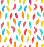 Seamless Pattern of Multicolored Feathers Stock Images